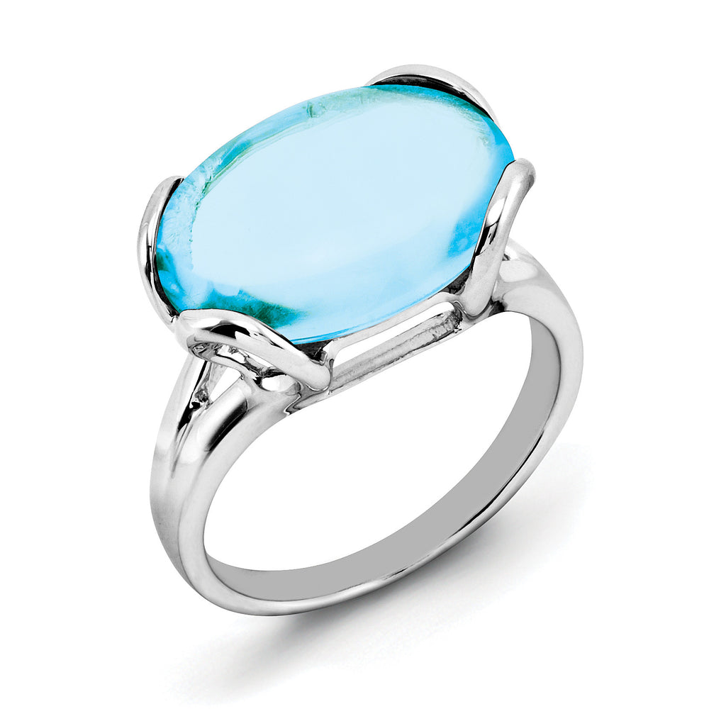 Sterling Silver Rhodium Blue Topaz Ring QR2952BT - shirin-diamonds
