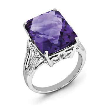 Sterling Silver Rhodium-plated Checker-Cut Amethyst Ring QR2953AM - shirin-diamonds
