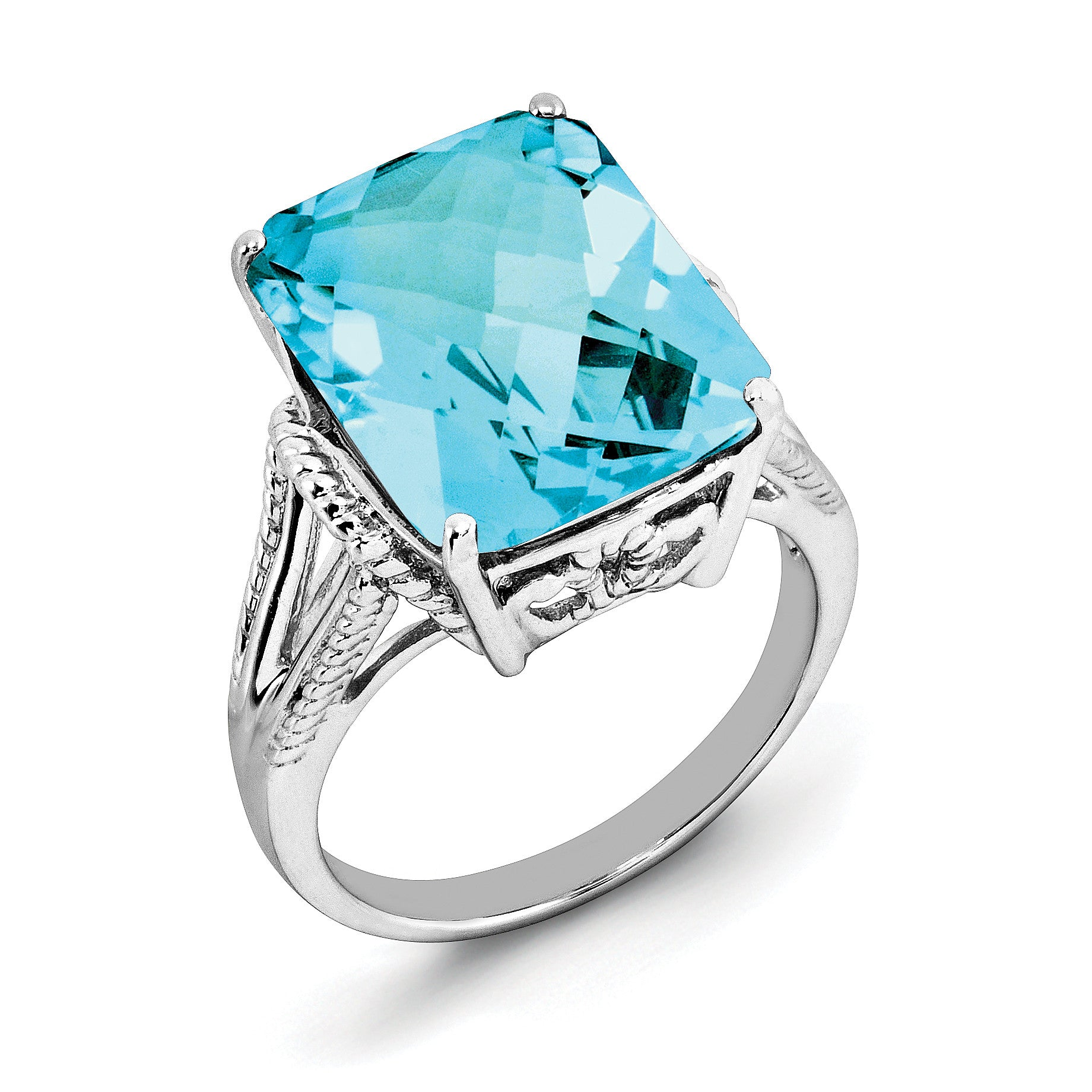 Sterling Silver Rhodium Checker-Cut Blue Topaz Ring QR2953BT - shirin-diamonds