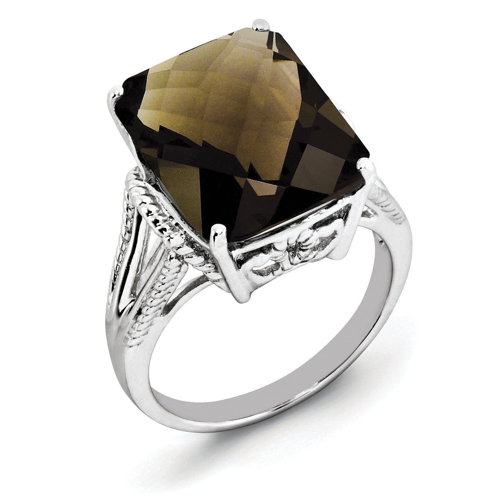Sterling Silver Rhodium Checker-Cut Smoky Quartz Ring QR2953SQ - shirin-diamonds