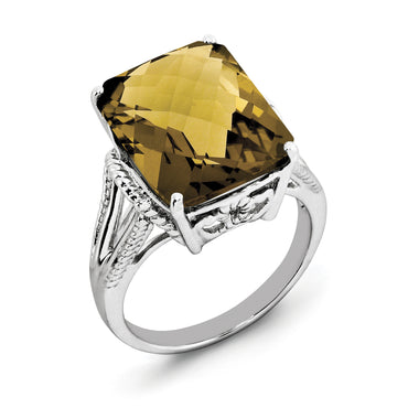 Sterling Silver Rhodium Checker-Cut Whiskey Quartz Ring QR2953WQ - shirin-diamonds