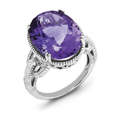 Sterling Silver Rhodium-plated Amethyst Ring QR2954AM - shirin-diamonds