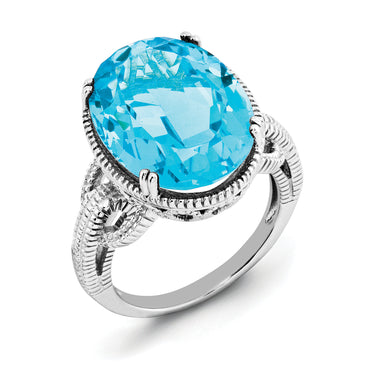 Sterling Silver Rhodium Blue Topaz Ring QR2954BT - shirin-diamonds