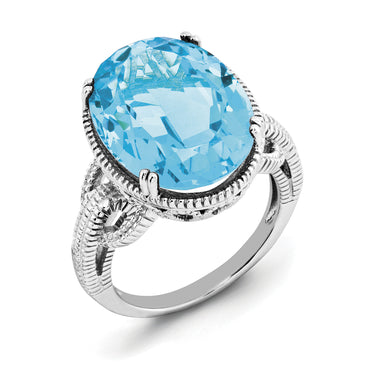 Sterling Silver Rhodium Light Swiss Blue Topaz Ring QR2954LSBT - shirin-diamonds