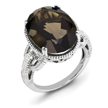 Sterling Silver Rhodium Smoky Quartz Ring QR2954SQ - shirin-diamonds