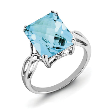 Sterling Silver Rhodium Light Swiss Blue Topaz Ring QR2955LSBT - shirin-diamonds