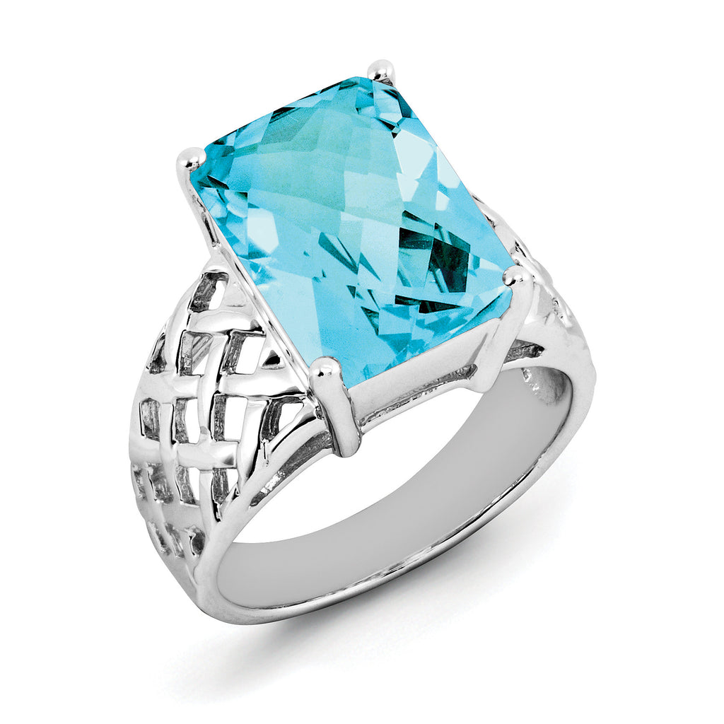 Sterling Silver Rhodium Octagonal Checker-Cut Blue Topaz Ring QR2957BT - shirin-diamonds
