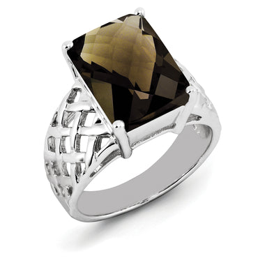 Sterling Silver Rhodium Octagonal Checker-Cut Smoky Quartz Ring QR2957SQ - shirin-diamonds