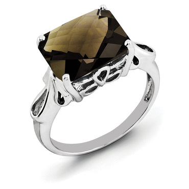 Sterling Silver Rhodium Octagonal Checker-Cut Smoky Quartz Ring QR2958SQ - shirin-diamonds