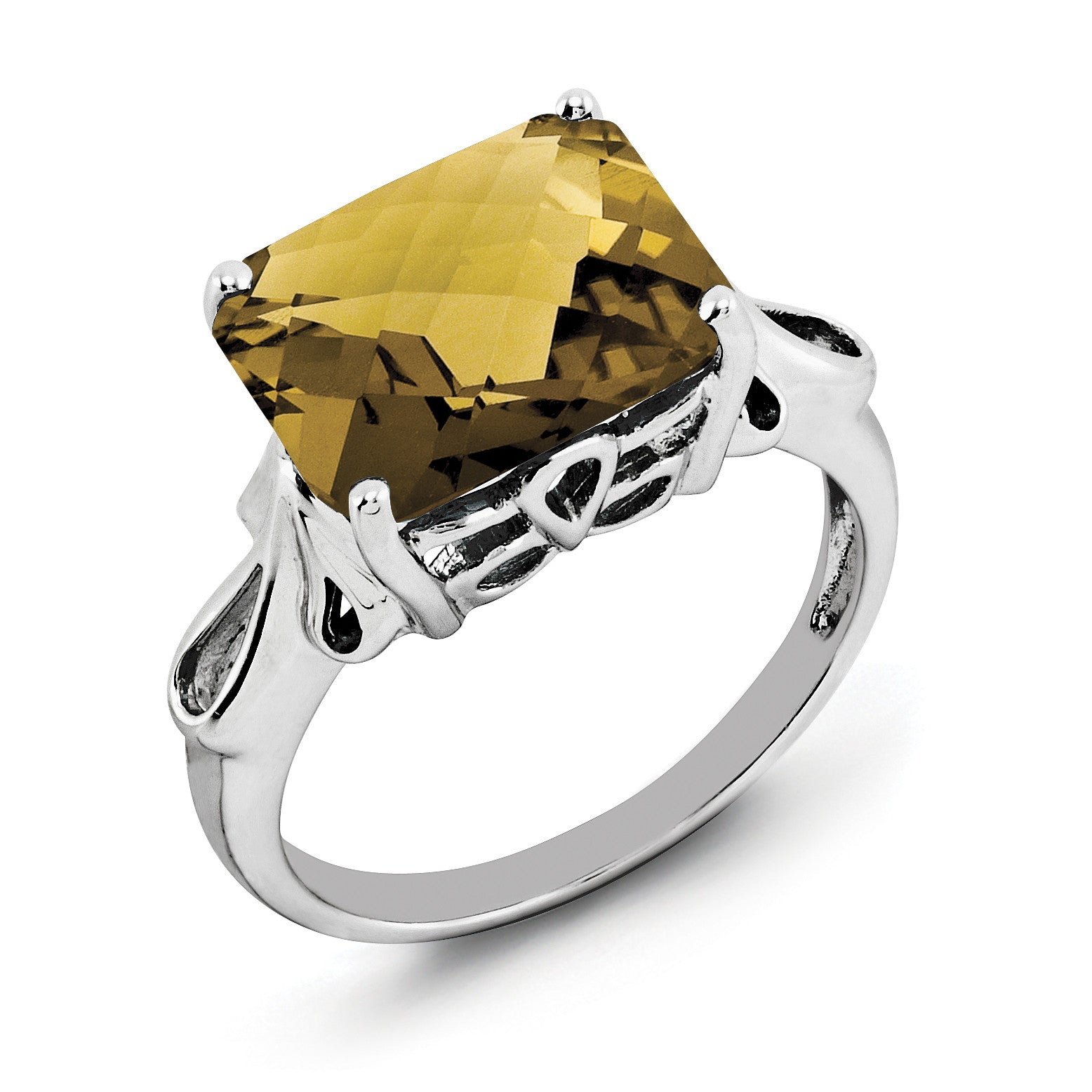 Sterling Silver Rhodium Octagonal Checker-Cut Whiskey Quartz Ring QR2958WQ - shirin-diamonds