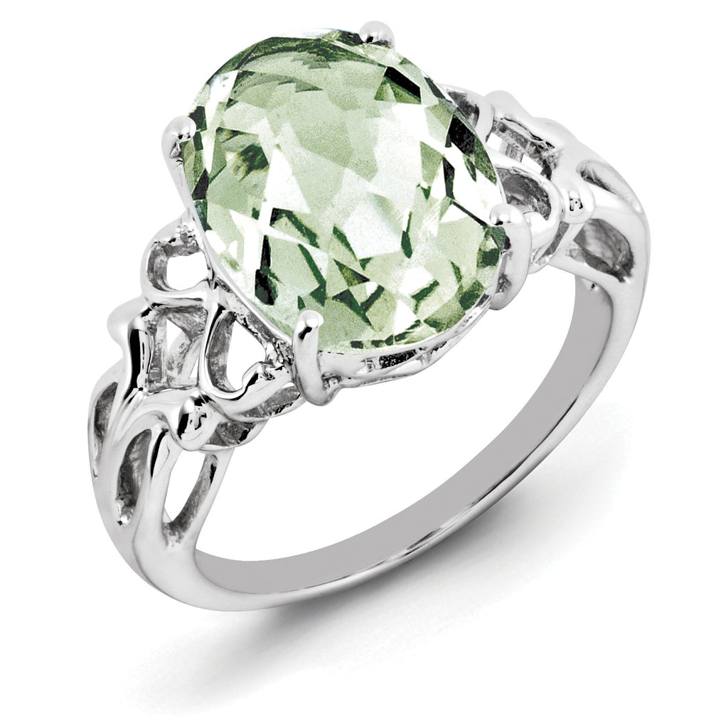 Sterling Silver Rhodium Oval Checker-Cut Green Quartz Ring QR2959AG - shirin-diamonds