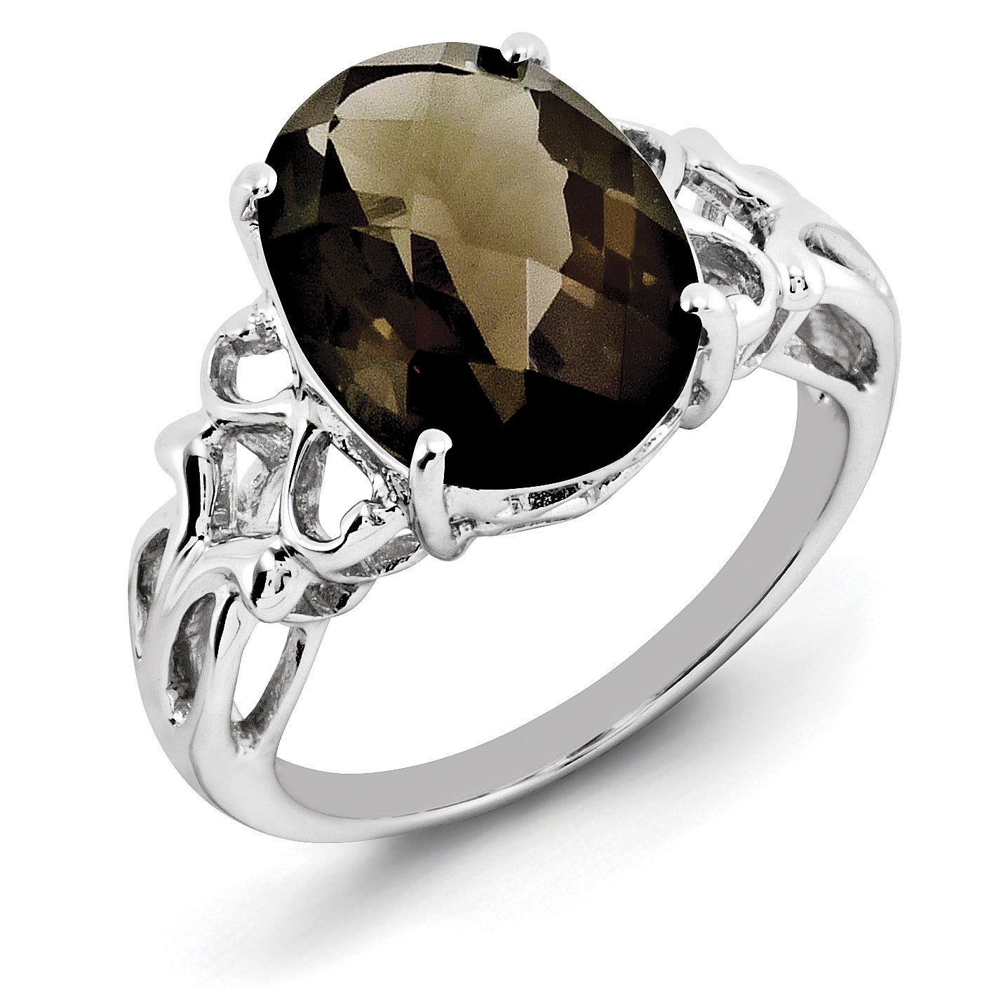 Sterling Silver Rhodium Oval Checker-Cut Smoky Quartz Ring QR2959SQ - shirin-diamonds