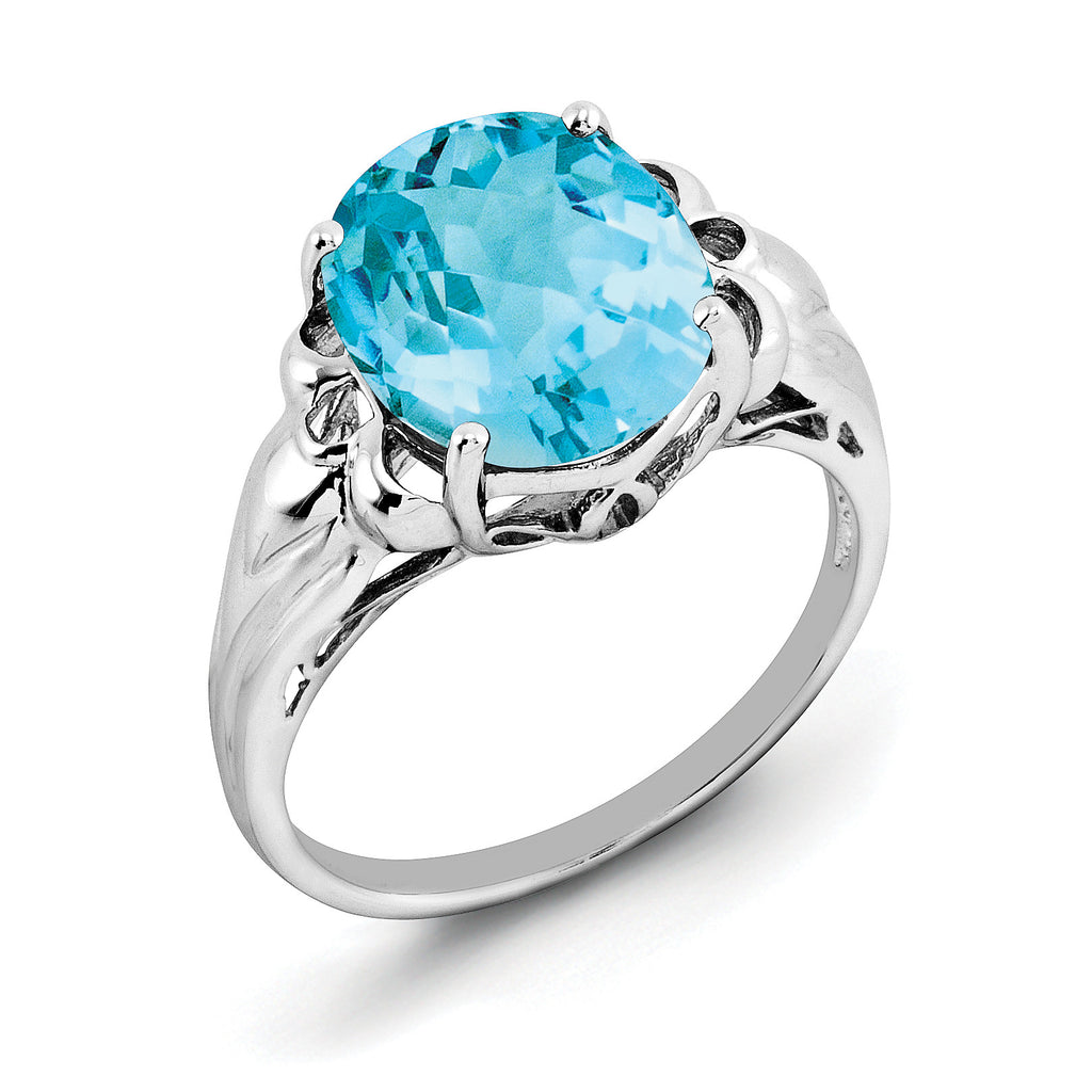 Sterling Silver Rhodium Oval Checker-Cut Blue Topaz Ring QR2960BT - shirin-diamonds