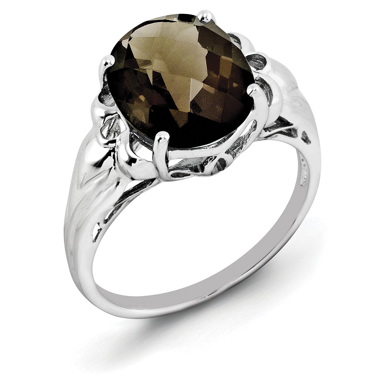 Sterling Silver Rhodium Oval Checker-Cut Smoky Quartz Ring QR2960SQ - shirin-diamonds