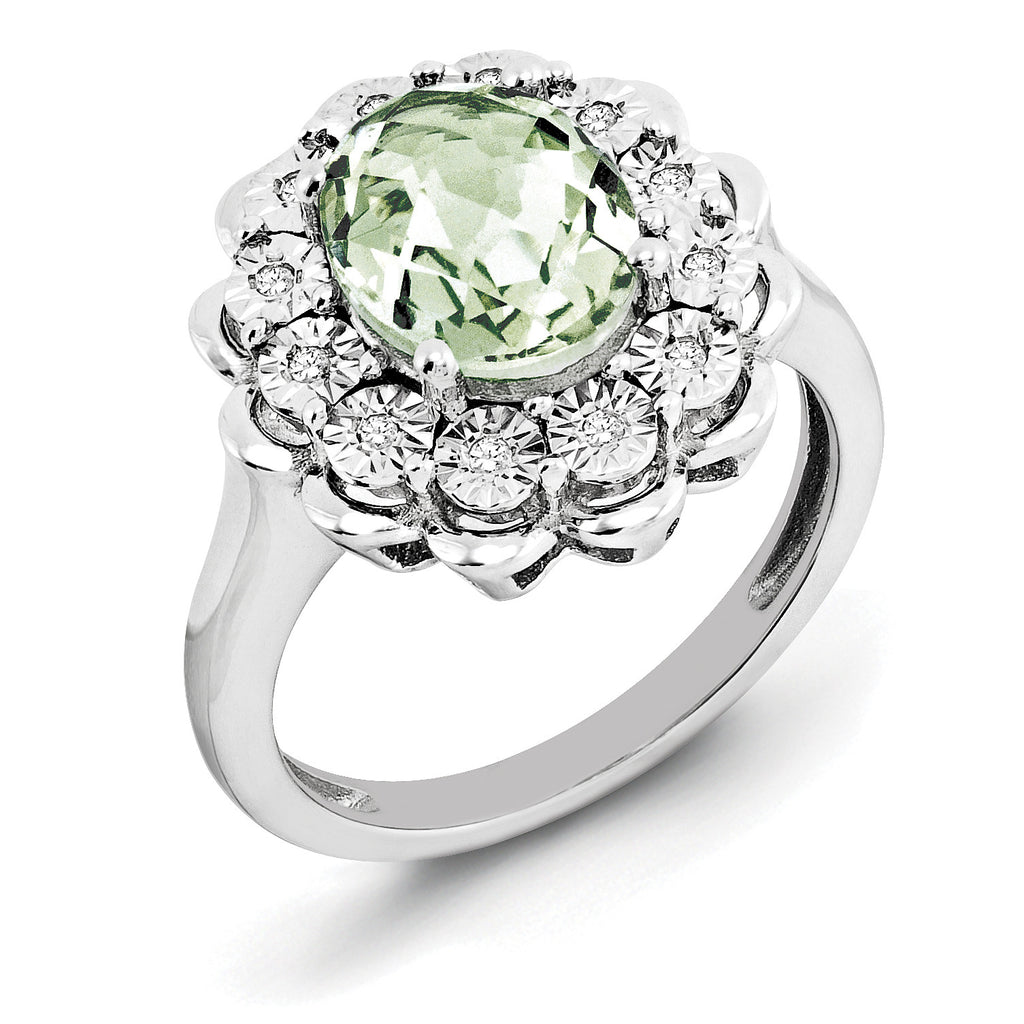 Sterling Silver Rhodium Diam. & Checker-Cut Green Quartz Ring QR3029AG - shirin-diamonds