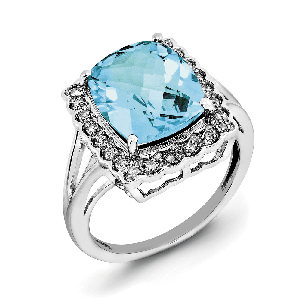 Sterling Silver Rhodium Diam. & Checker-Cut Blue Topaz Ring QR3031BT - shirin-diamonds