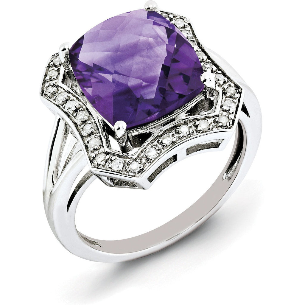 Sterling Silver Rhodium-plated Diamond & Checker-Cut Amethyst Ring QR3033AM - shirin-diamonds