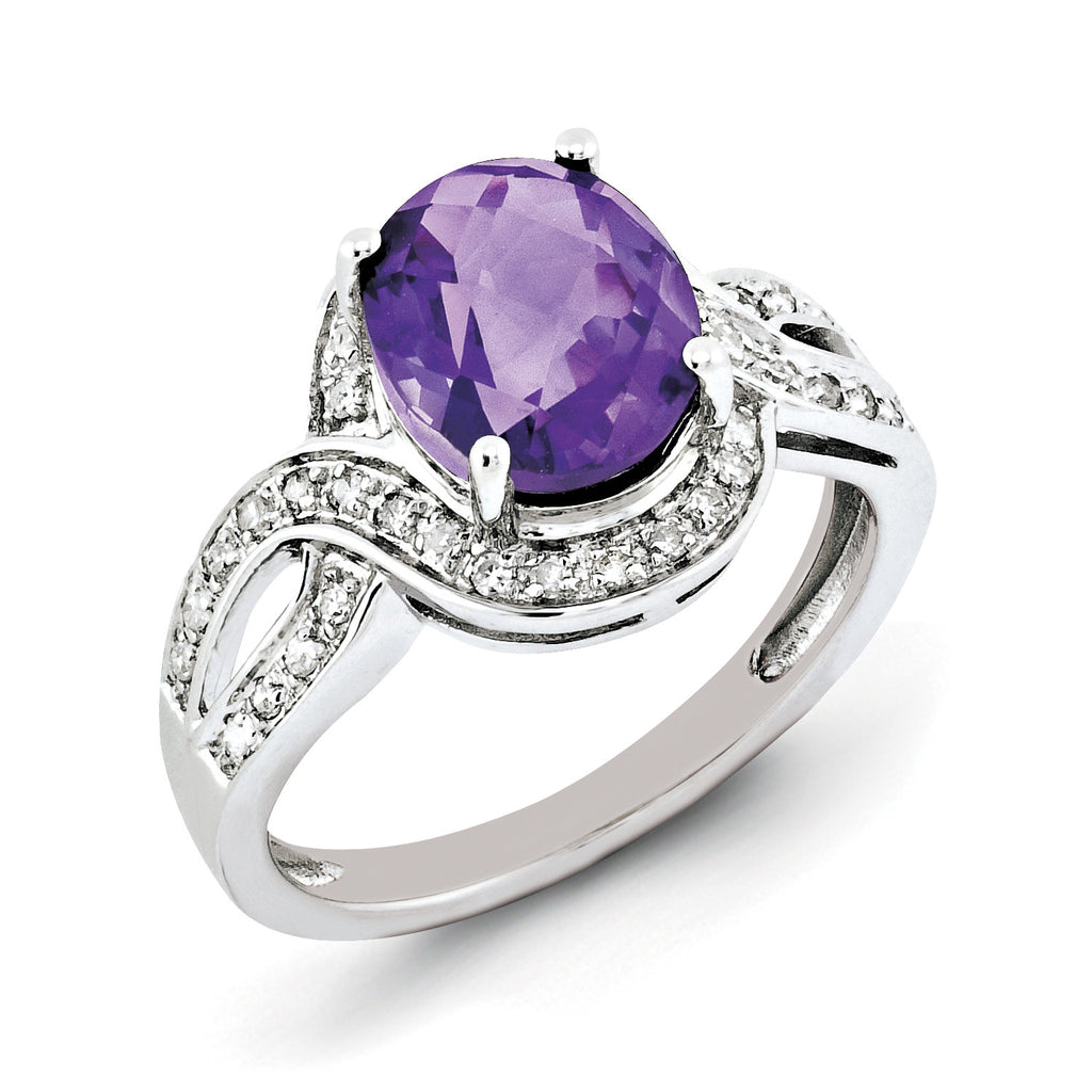 Sterling Silver Rhodium-plated Diamond & Oval Checker-Cut Amethyst Ring QR3036AM - shirin-diamonds