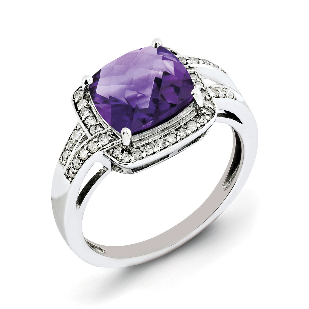 Sterling Silver Rhodium-plated Diamond & Checker-Cut Amethyst Ring QR3037AM - shirin-diamonds