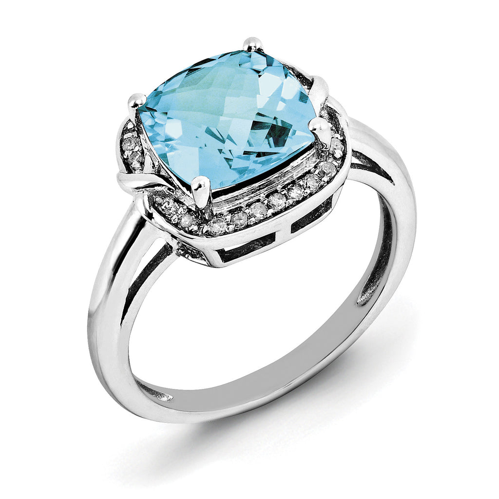 Sterling Silver Rhodium Diam. & Checker-Cut Light Swiss Blue Topaz Ring QR3039LSBT - shirin-diamonds