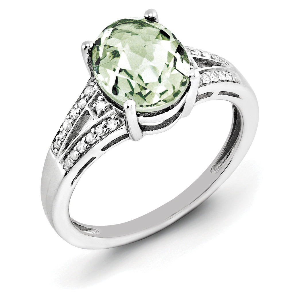Sterling Silver Rhodium Diam. & Oval Green Quartz Ring QR3043AG - shirin-diamonds