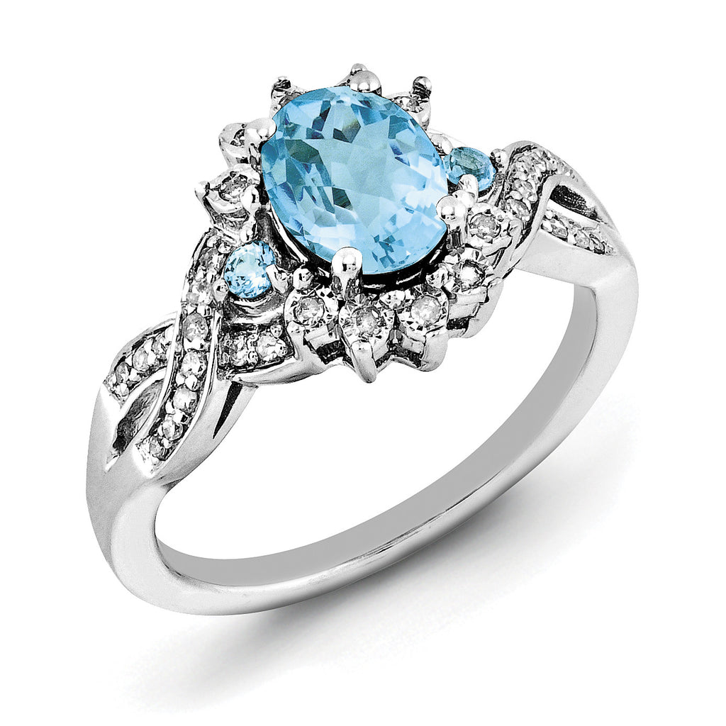 Sterling Silver Rhodium Diam. & Oval Blue Topaz Ring QR3045BT - shirin-diamonds