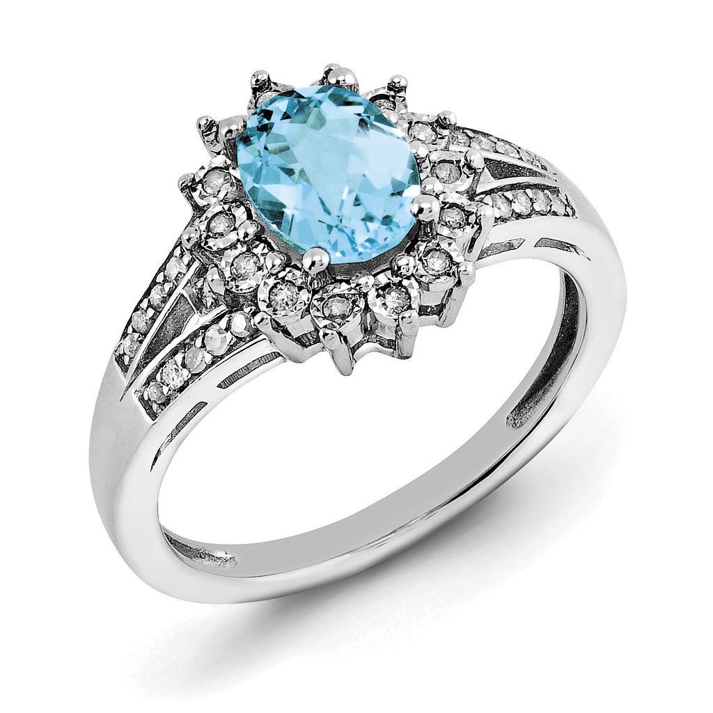 Sterling Silver Rhodium Diam. & Oval Checker-Cut Blue Topaz Ring QR3046BT - shirin-diamonds