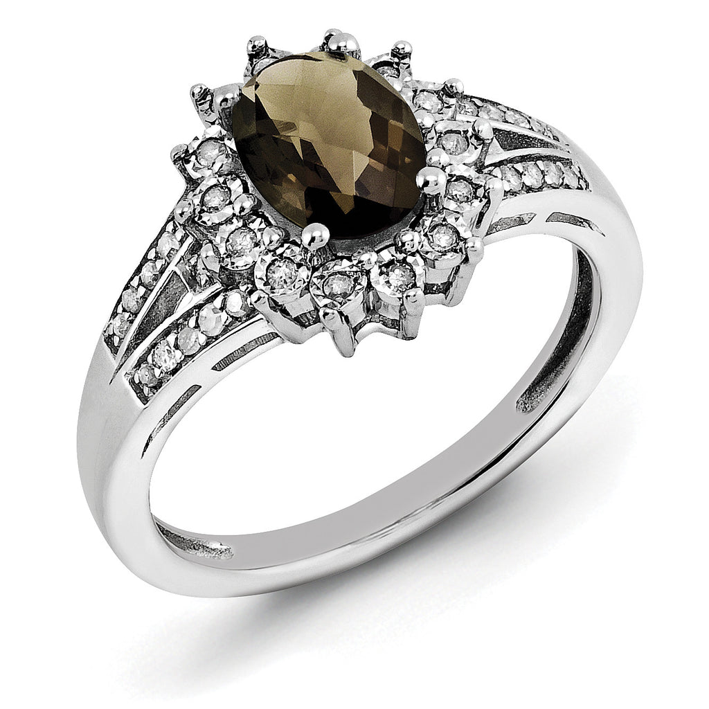 Sterling Silver Rhodium Diam. & Oval Checker-Cut Smoky Quartz Ring QR3046SQ - shirin-diamonds