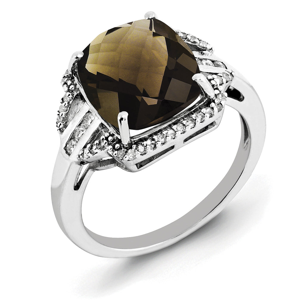Sterling Silver Rhodium Diam. & Checker-Cut Smoky Quartz Ring QR3050SQ - shirin-diamonds