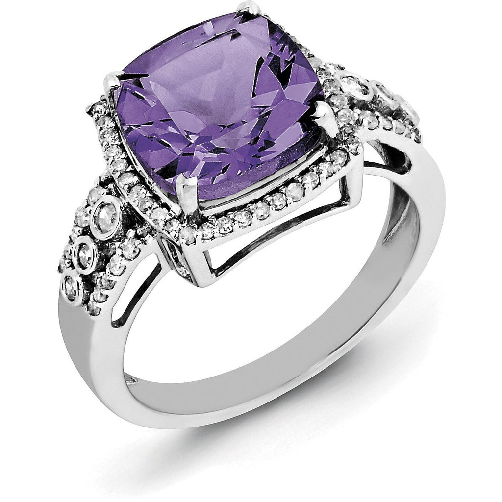 Sterling Silver Rhodium-plated Checker-Cut Amethyst & Diamond Ring QR3051AM - shirin-diamonds