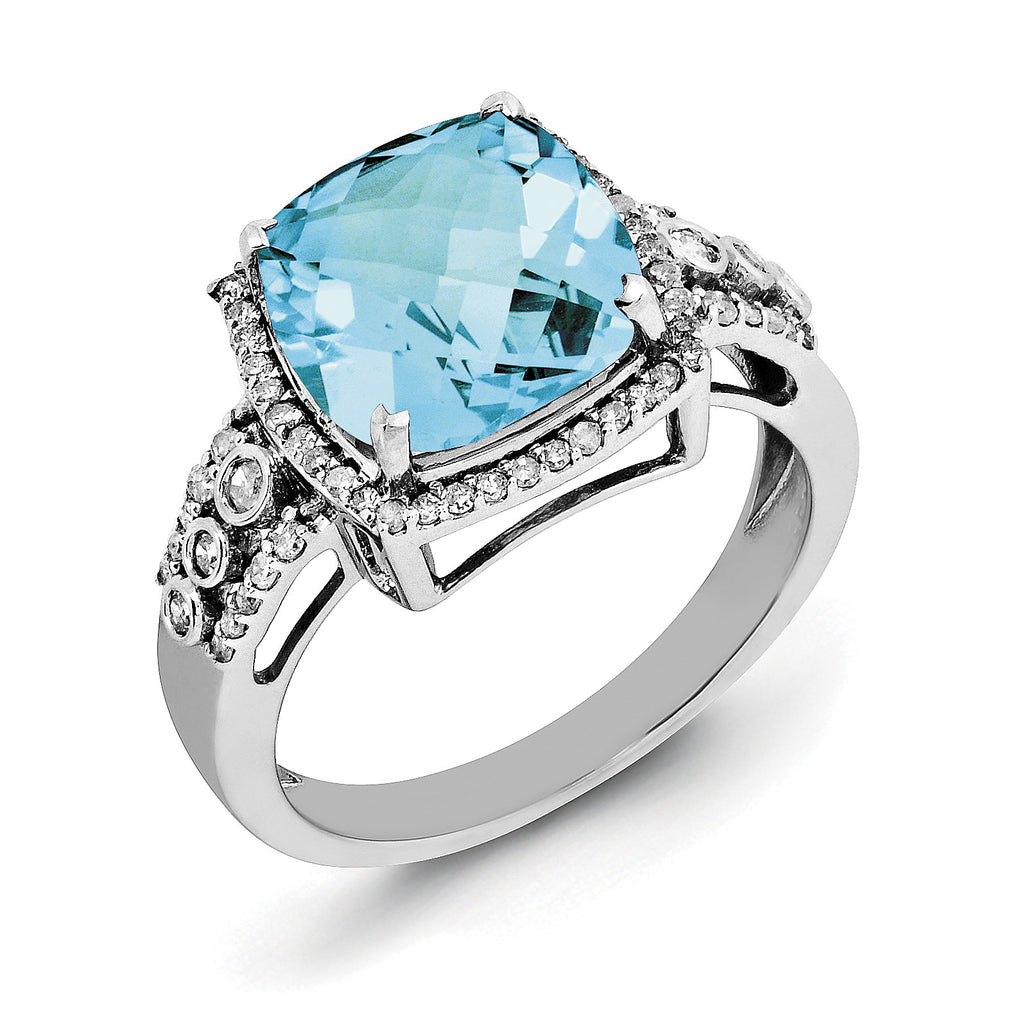 Sterling Silver Rhodium Checker-Cut Blue Topaz & Diam. Ring QR3051BT - shirin-diamonds