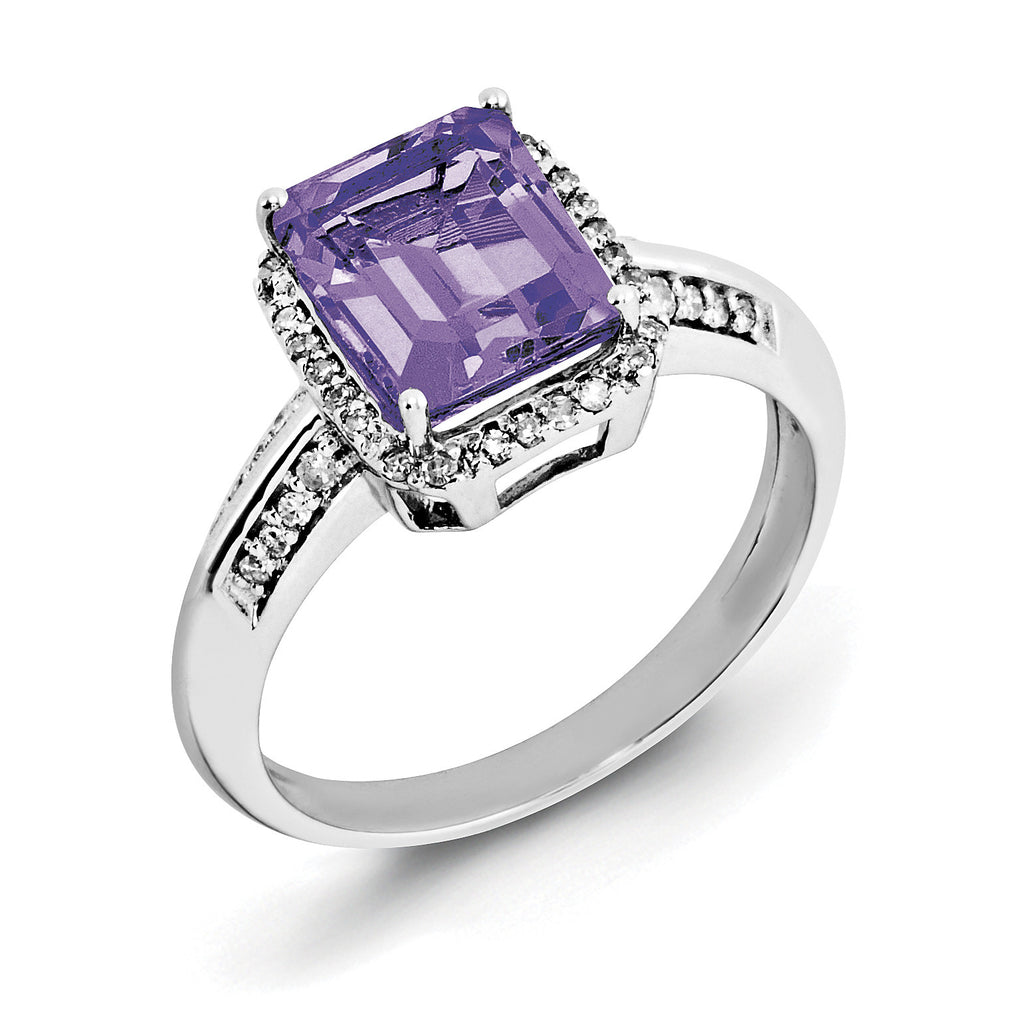 Sterling Silver Rhodium-plated Octagonal Amethyst & Diamond Ring QR3052AM - shirin-diamonds