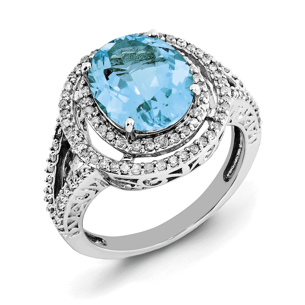 Sterling Silver Rhodium Oval Blue Topaz & Diam. Ring QR3053BT - shirin-diamonds