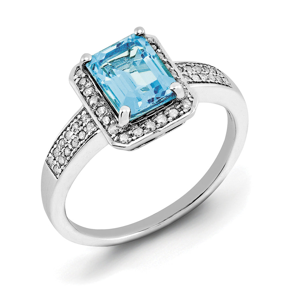 Sterling Silver Rhodium Diam. & Light Swiss Blue Topaz Ring QR3055LSBT - shirin-diamonds