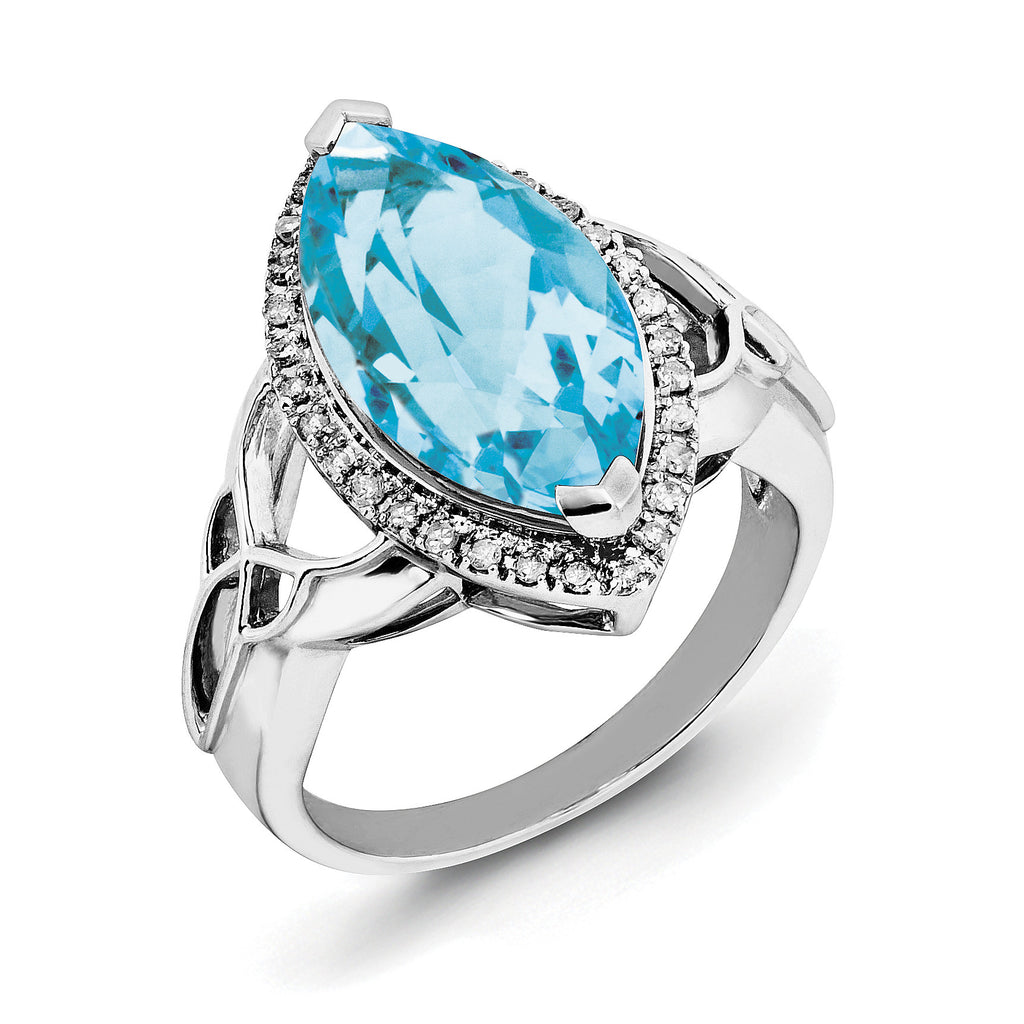 Sterling Silver Rhodium Blue Topaz & Diam. Ring QR3056BT - shirin-diamonds