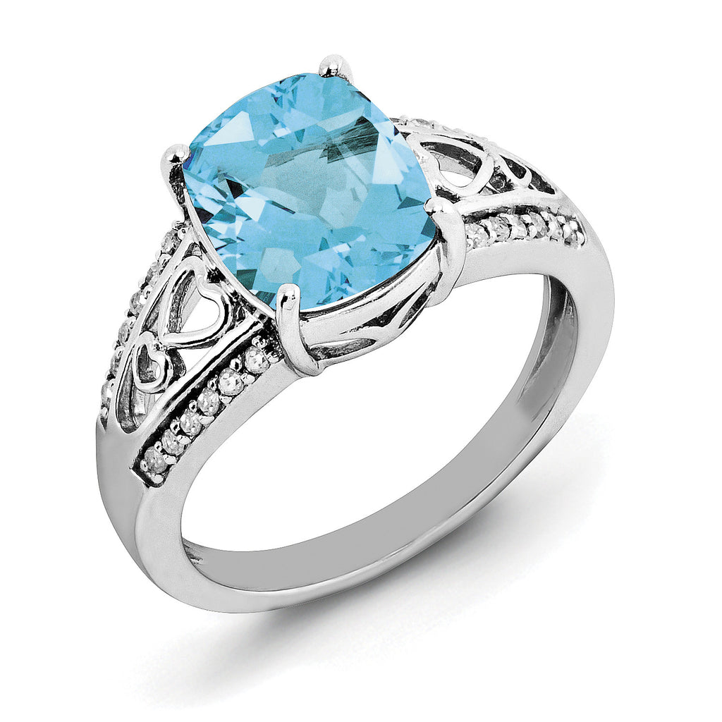Sterling Silver Rhodium Blue Topaz & Diam. Ring QR3059BT - shirin-diamonds