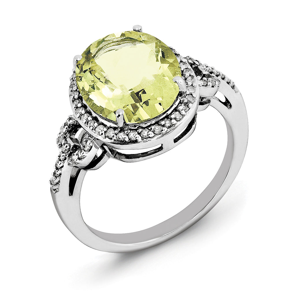Sterling Silver Rhodium Oval Diam. & Checker-Cut Lemon Quartz Ring QR3063LQ - shirin-diamonds