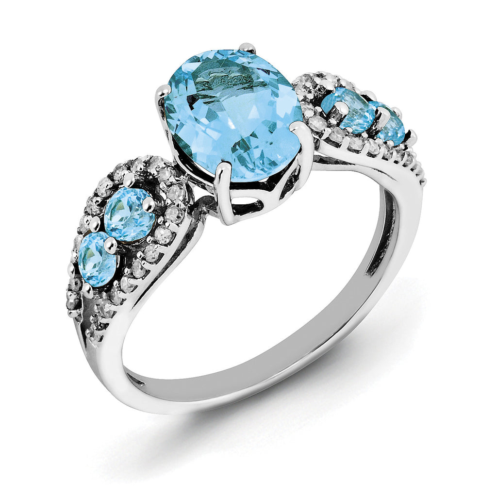 Sterling Silver Rhodium Blue Topaz & Diam. Ring QR3073BT - shirin-diamonds
