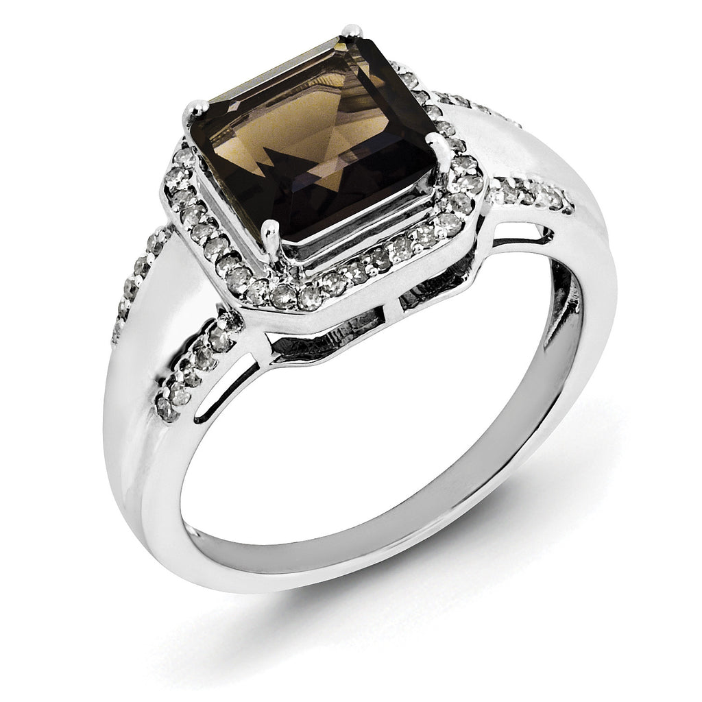 Sterling Silver Rhodium Diam. & Smoky Quartz Ring QR3080SQ - shirin-diamonds