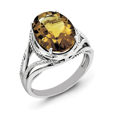 Sterling Silver Rhodium Whiskey Quartz Ring - shirin-diamonds