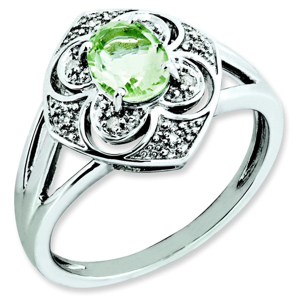 Sterling Silver Green Quartz & Diamond Ring - shirin-diamonds