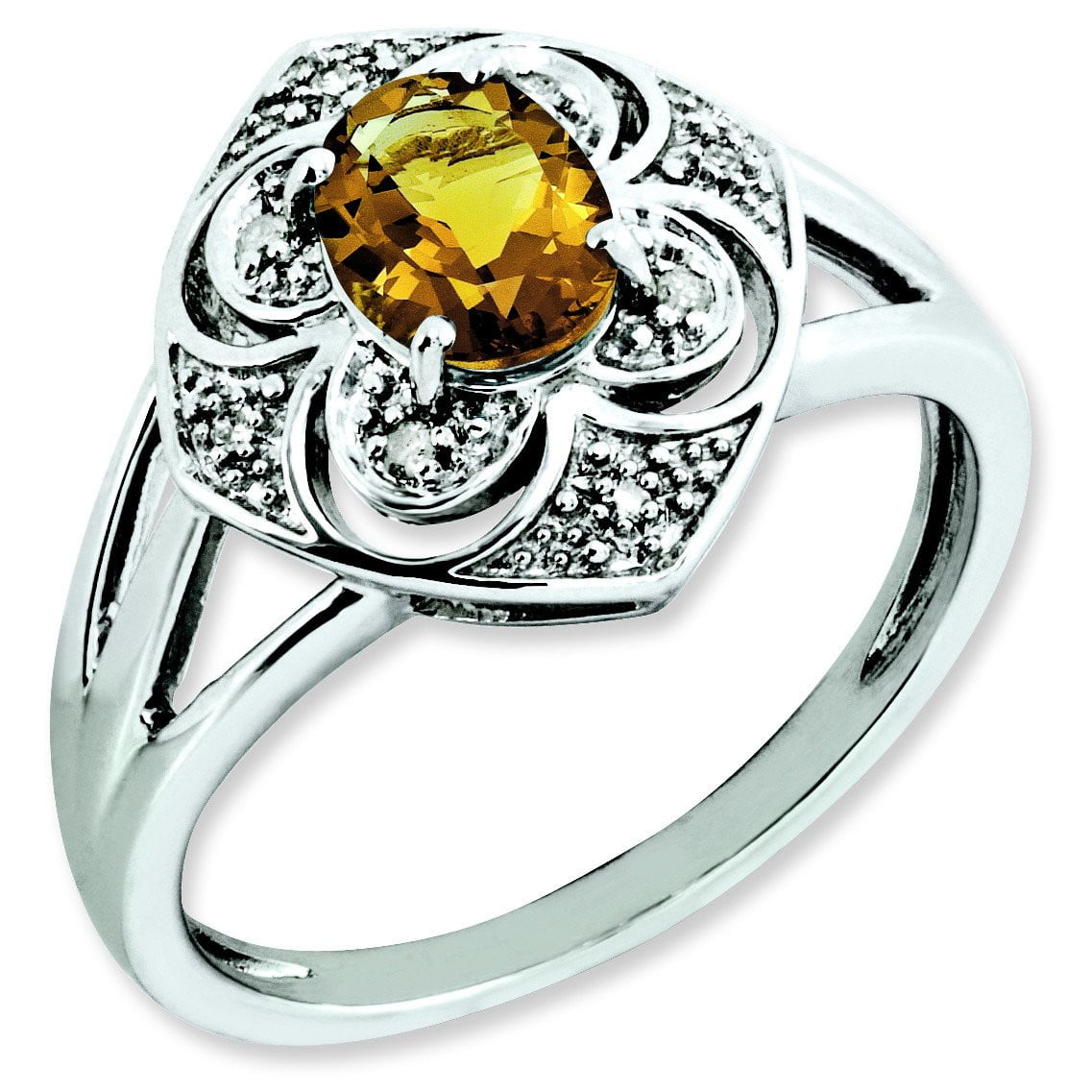 Sterling Silver Whiskey Quartz & Diamond Ring - shirin-diamonds