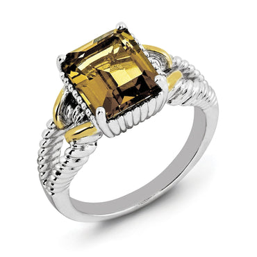 Sterling Silver Rhodium w/ Flash Gold-plate Whiskey Quartz Ring - shirin-diamonds
