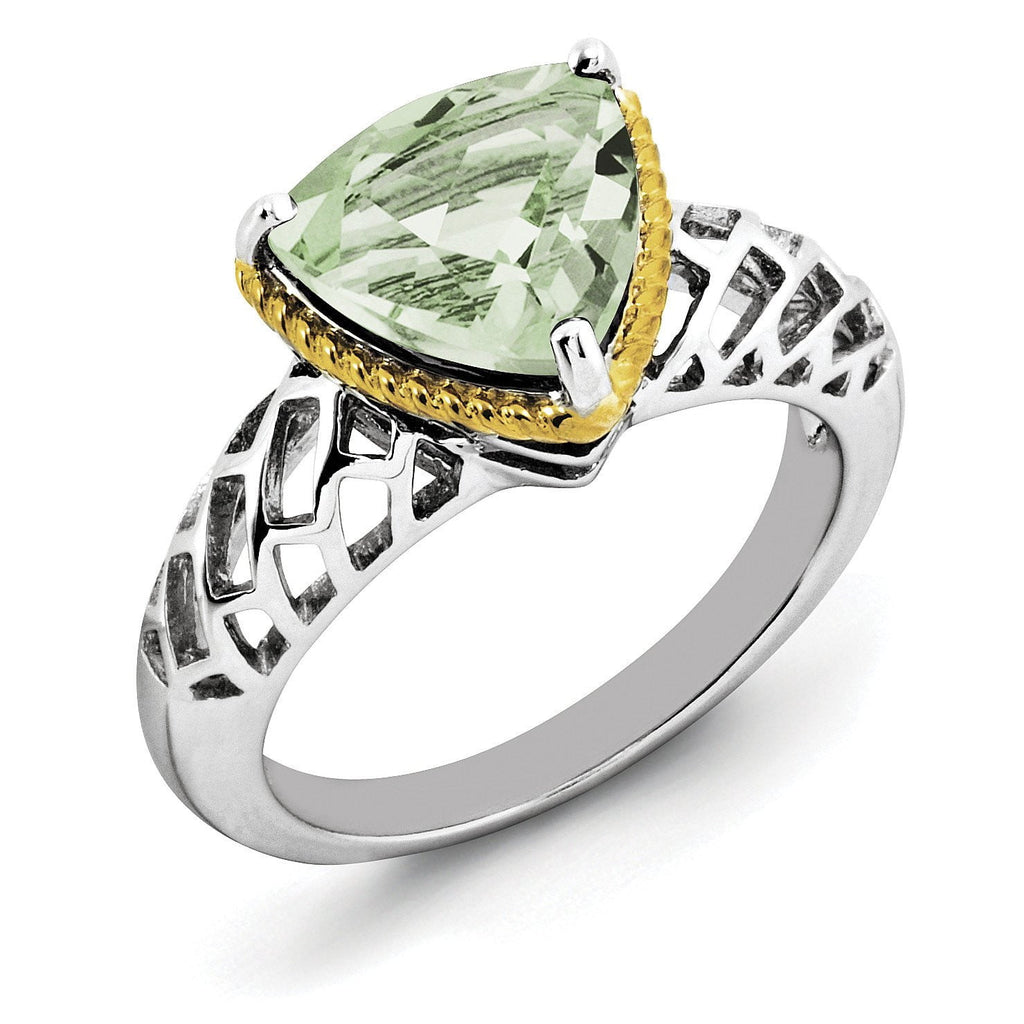 Sterling Silver Rhodium w/ Flash Gold-plate Green Quartz Ring