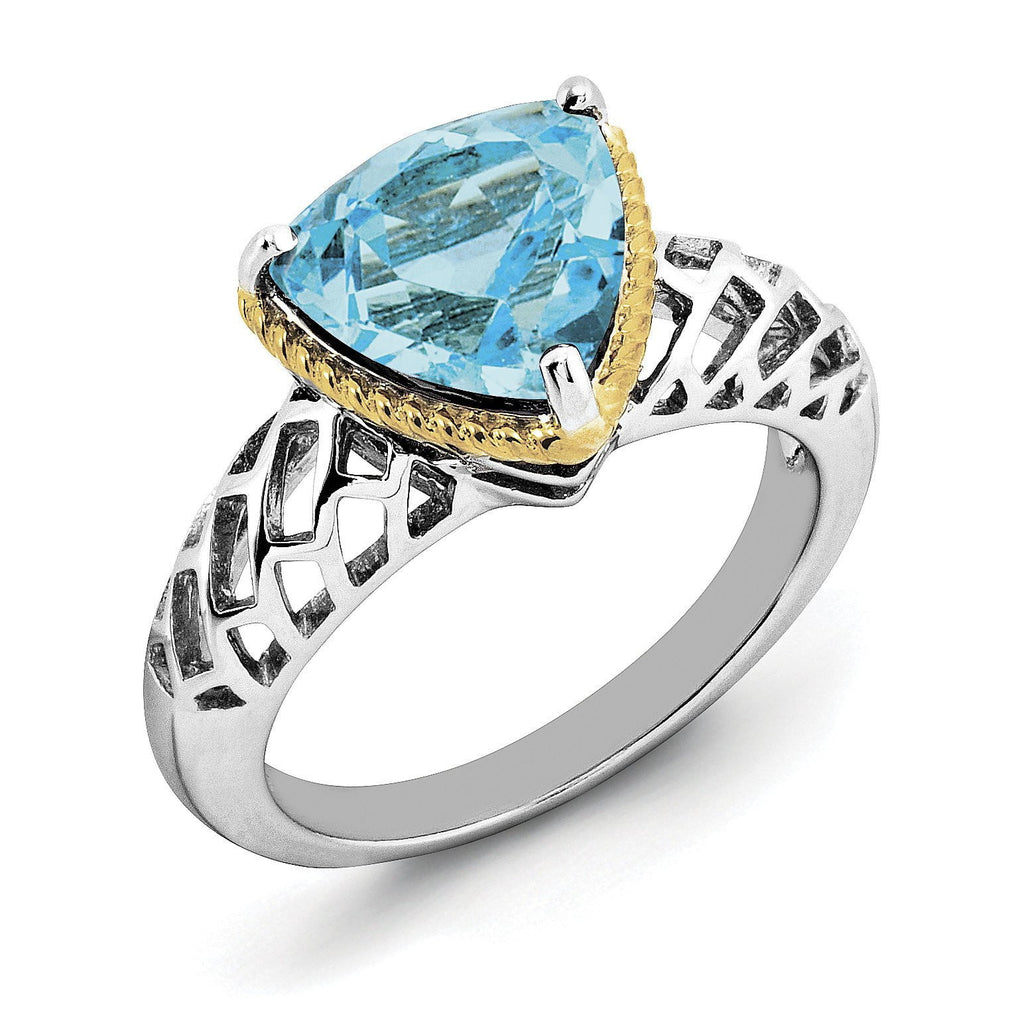 Sterling Silver Rhodium w/ Flash Gold-plate Light Swiss Blue Topaz Ring - shirin-diamonds