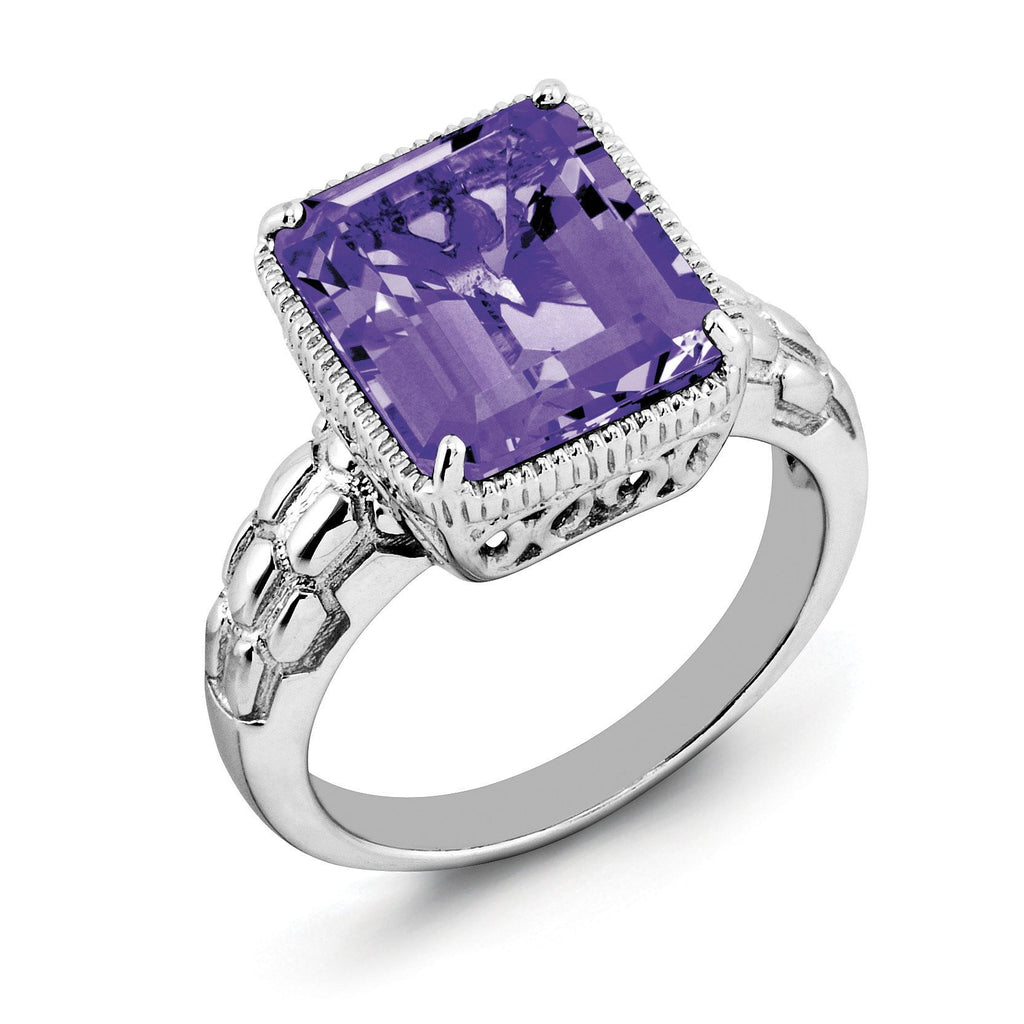 Sterling Silver Rhodium-plated Octagonal Amethyst Ring - shirin-diamonds