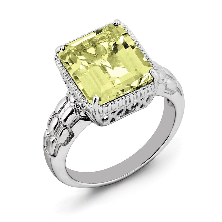 Sterling Silver Rhodium Lemon Quartz Ring - shirin-diamonds