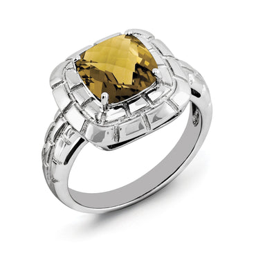Sterling Silver Rhodium Checker-Cut Whiskey Quartz Ring - shirin-diamonds