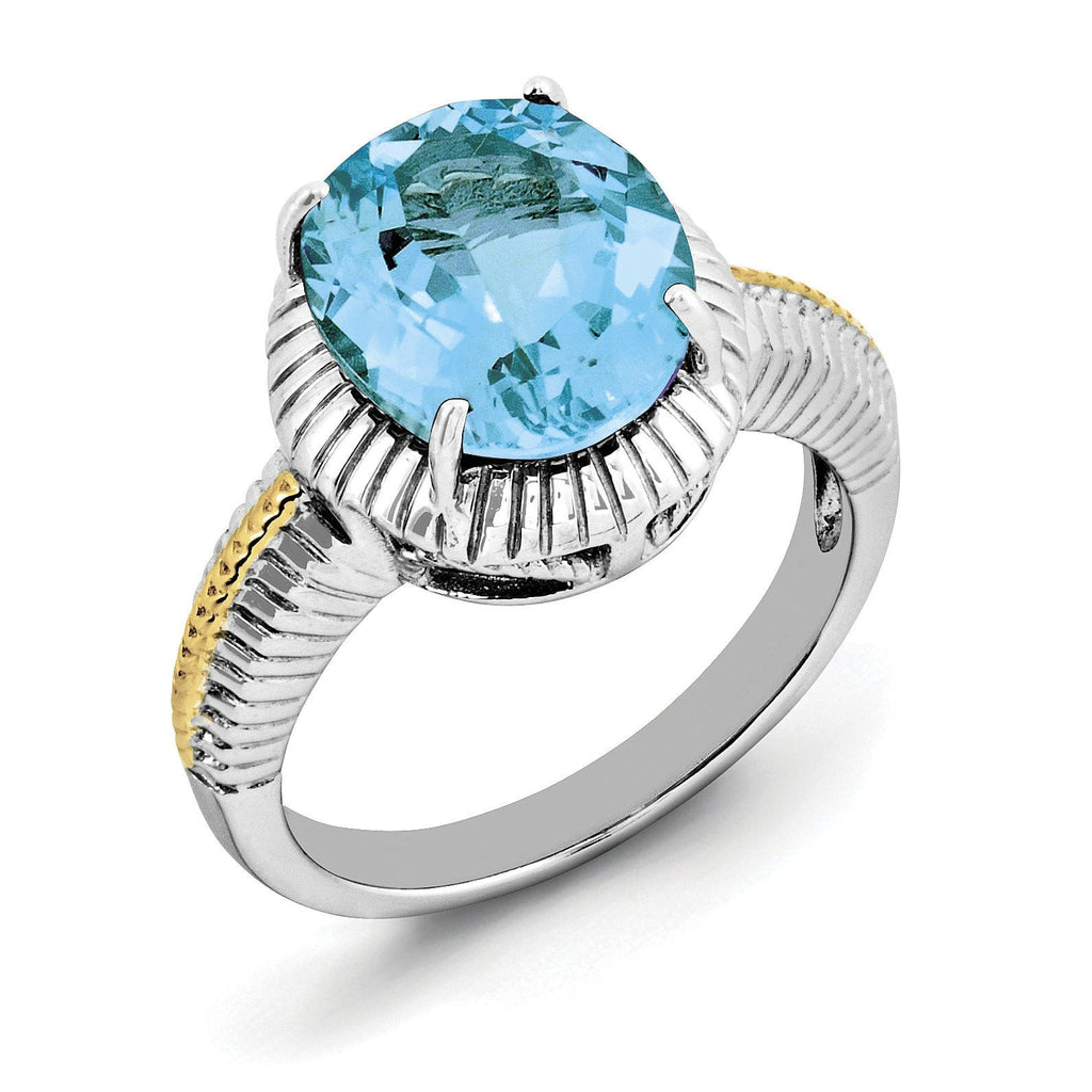 Sterling Silver Rhodium w/ Flash Gold-plate Light Swiss Blue Topaz Ring