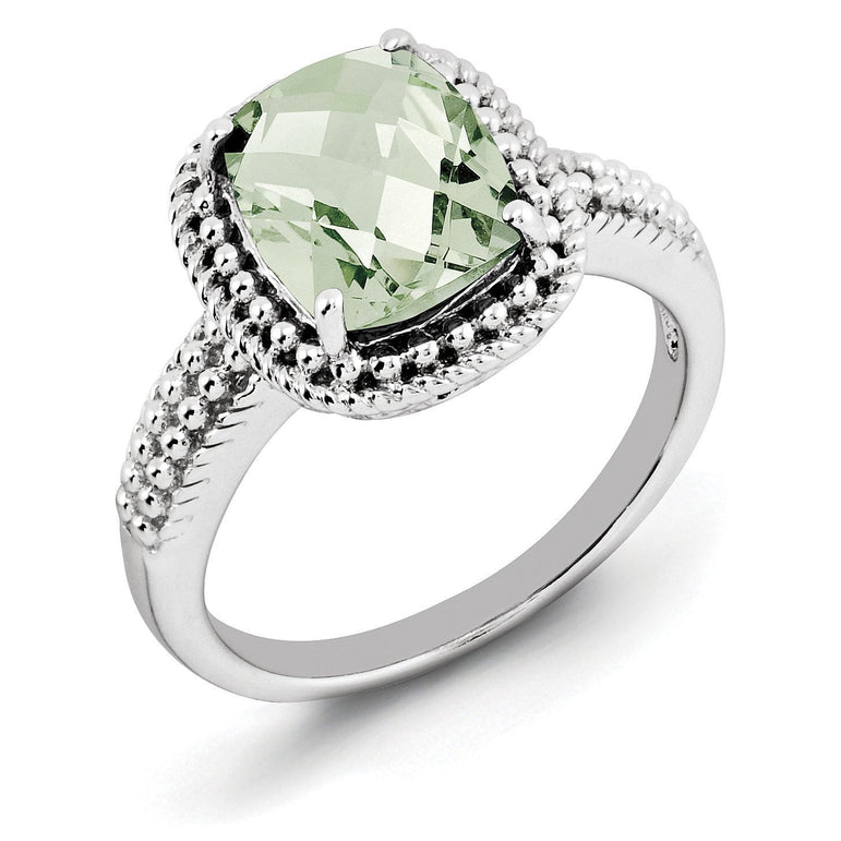 Sterling Silver Rhodium Checker-Cut Green Quartz Ring - shirin-diamonds